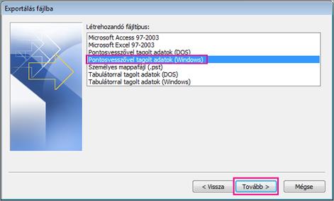 Exportálás CSV-fájlba (Windows)