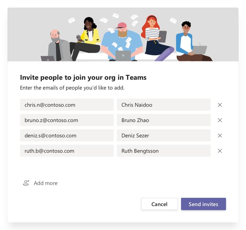 A személyek meghívása párbeszédpanel