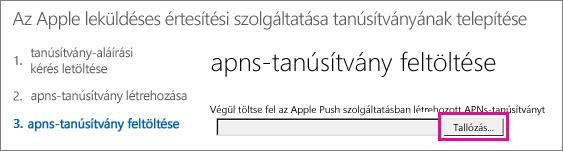 Az Apple Push Certificates portálon létrehozott tanúsítvány feltöltése.