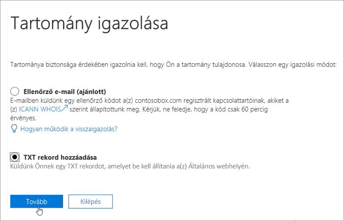 Select Add a TXT record instead in Office 365_C3_2017530143712
