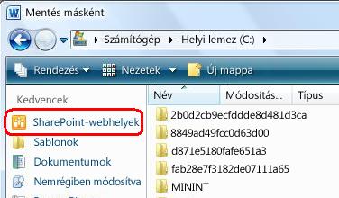 SharePoint-webhelyre mutató hivatkozás a Mentés másként párbeszédpanelen