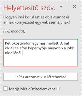 Helyettesítő szöveg panel a PowerPoint a Windows