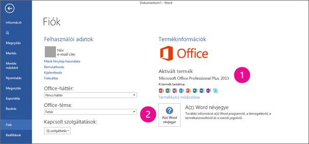 A Fájl > Fiók parancs a Word 2013-ban