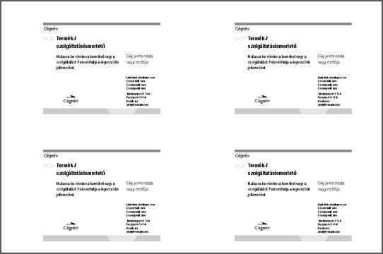 Képeslap nyomtatási képe egy papírlapon négy darab képeslappal
