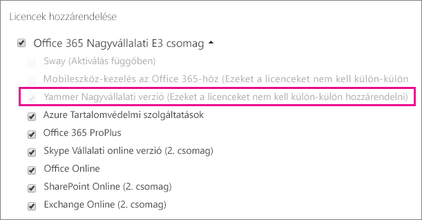 Képernyőkép az Office 365 Felügyeleti központ Licencek hozzárendelése csoportjáról a kijelölt Yammer Nagyvállalati verzió licenccel.