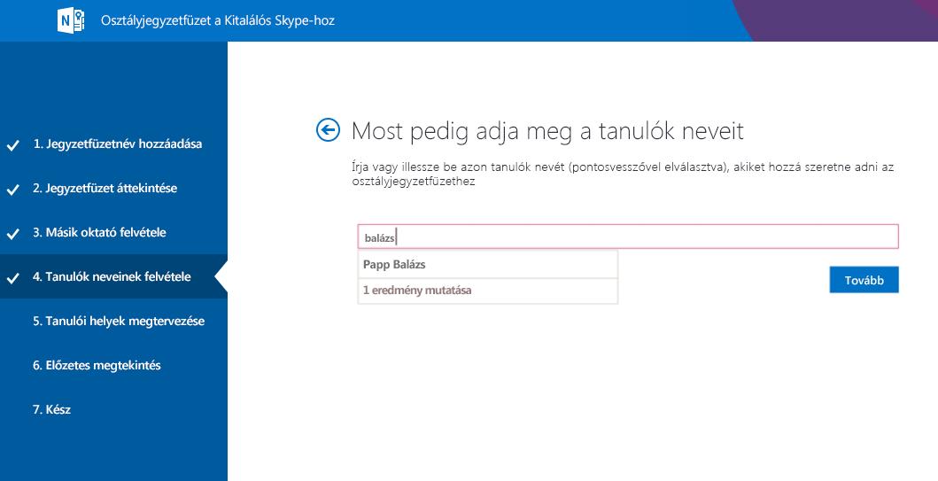Tanulók hozzáadása a Kitalálós Skype-hoz