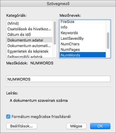 A dokumentum adatai és a kijelölt NumWords mező párbeszédpanelen.