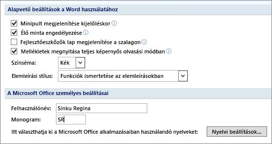 A Word 2007 Népszerű elemek