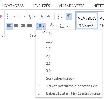 A Kezdőlap lapon a Word, a sor- és bekezdésköz menü megjelenítő képernyőkép.