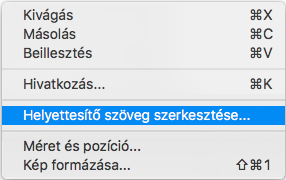 A Mac Outlook helyettesítő szöveg helyi menüjének szerkesztése