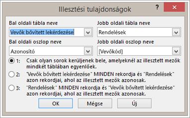 Képernyőkép az illesztési tulajdonságok kiemelése a bal oldali tábla neve
