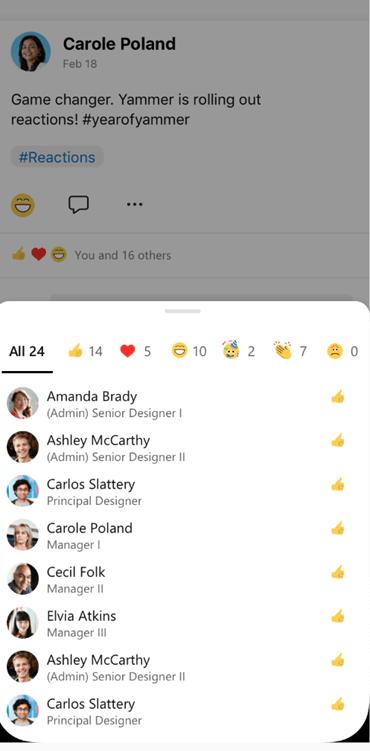 Képernyőkép a Yammer Mobile-ban egy beszélgetésre reagáló személyről