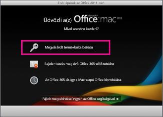 Mac Office aktiválása képernyő