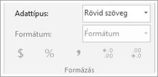 Képernyő kódtöredékének adatok típusa mező