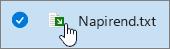 Fájlnév és ikon zöld nyíllal átfedve.
