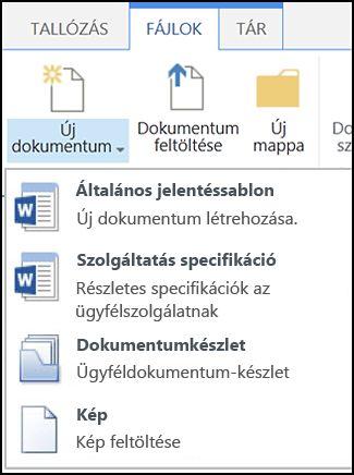 Az Új dokumentum menü testre szabott tartalomtípusokkal egy SharePoint-webhelyen