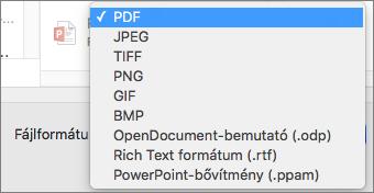 Exportálás / PDF a Mac PowerPoint 2016-ban