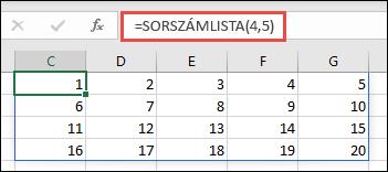 Példa a SORSZÁMLISTA függvényre egy 4 x 5-ös tömbbel