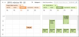 importált Google-naptárak egymás mellett az Outlookban