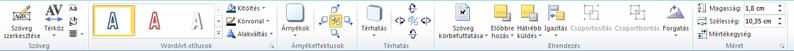 A WordArt-eszközök lap a Publisher 2010-ben