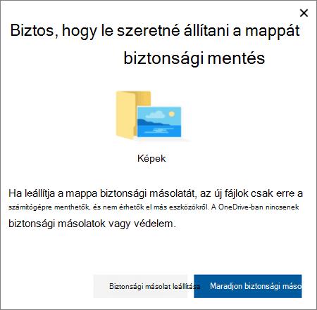 Képernyőkép: a mappák védelmének leállítása a OneDrive-ban