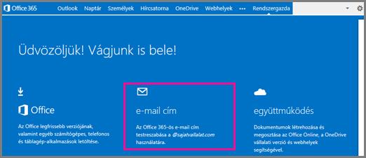 Üdvözlőképernyő az E-mail cím csempével