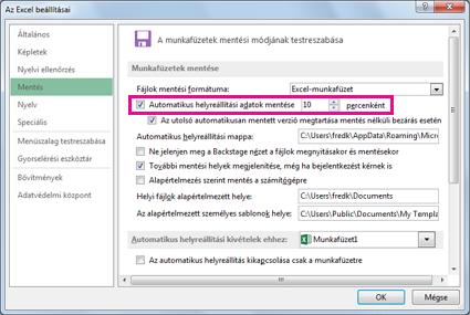 Automatikus helyreállítási beállítás az Excel Beállítások párbeszédpanelének Mentés lapján