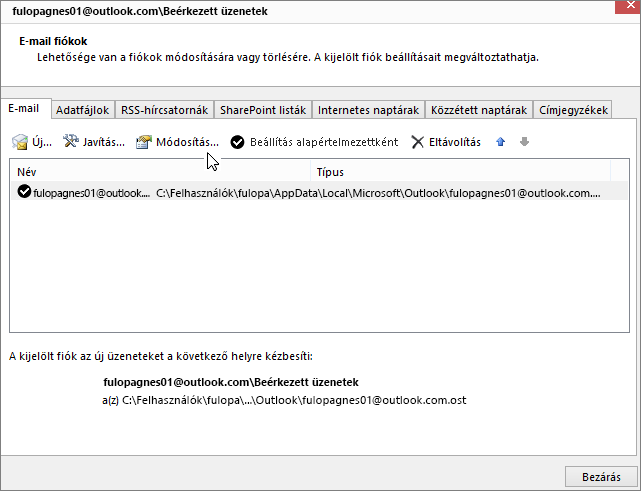 E-mail fiókok beállításainak módosítása