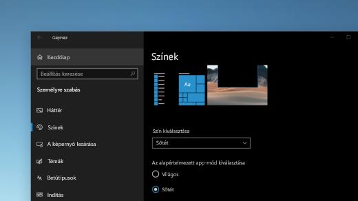 A Színek lap a Windows beállításaiban sötét módban jelenik meg
