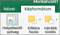 A Mac Excel menüszalagjának képek lapjának helyettesítő szöveg gombja