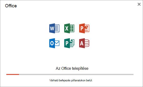 A folyamat előrehaladását jelző párbeszédpanel az Office telepítésekor
