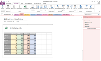 Excel-számolótábla a OneNote egyik lapján