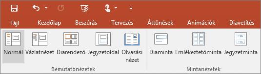 A PowerPoint Nézet menüjének szemléltetése
