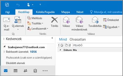 Kép arról, hogy hogyan néz ki az Outlook.com-fiók az Outlook 2016-ban.