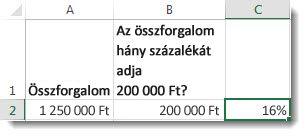 12500000Ft az A2 cellában, 2000000 Ft a B2 cellában, 16% a C2 cellában
