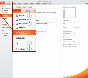 A Fájl lap a PowerPoint 2010 menüszalagján