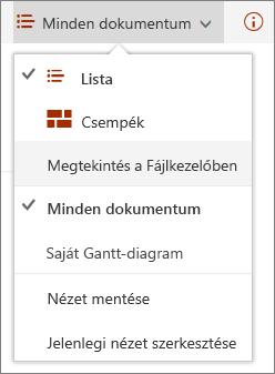 A SharePoint Online Nézetek menüje az Internet Explorer 11-ben