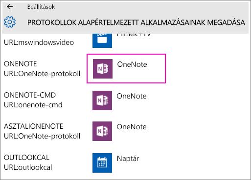 Képernyőkép a OneNote-protokollokról a Windows 10 Beállítások lapján