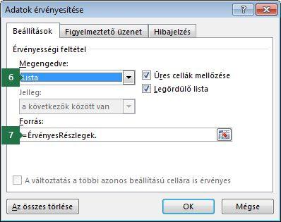A legördülő lista beállításainak megadása a Beállítások lapon az Excelben