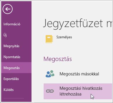Képernyőkép: a Get-megosztás hivatkozást a OneNote 2016-ban a felhasználói Felület.