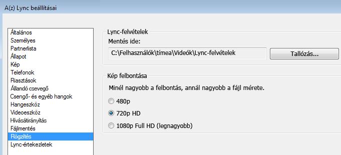 Képernyőkép: a felvételek helye és felbontása