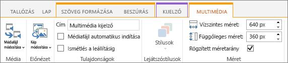 Multimédia lap a szerkesztési menüszalagon