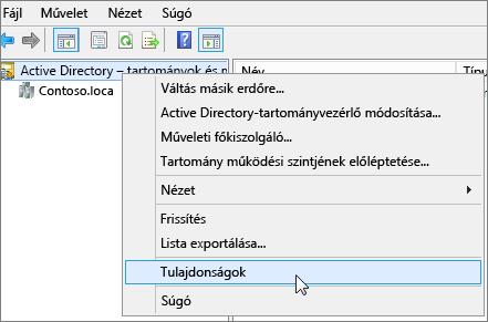Kattintson a jobb gombbal az Active Directory – tartományok és megbízhatósági kapcsolatok elemre, és válassza a Tulajdonságok parancsot