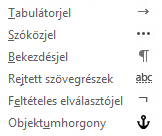 Ezek a formázási karakterek használhatók az e-mail üzenetekben.