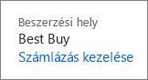 Számlázás kezelése hivatkozás a Best Buynál vásárolt Office 365 Otthoni verziós előfizetés megújításához.