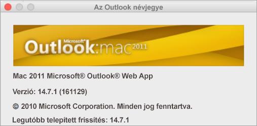 A(z) Outlook névjegye ablakban a Mac Outlook 2011 felirat látható.