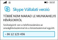 Mobiltelefonszám megadása arra az esetre, ha nem érhető el Wi-Fi vagy adatkapcsolat