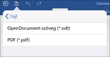 Ha PDF-fájlba szeretné exportálni a dokumentumot, koppintson a Fájl > Exportálás parancsra