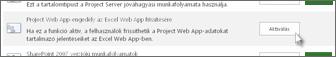 Project Web App-engedély az Excel Web App frissítésére