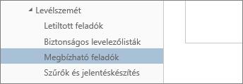 Kattintson a beállítások menü a megbízható feladók képernyőkép